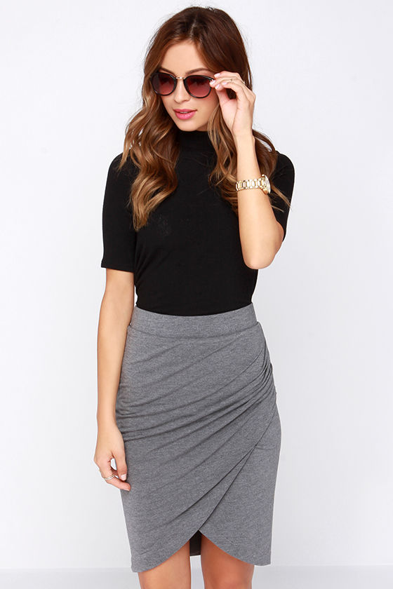 Grey Skirt Tulip Skirt Ruched Skirt 48 00