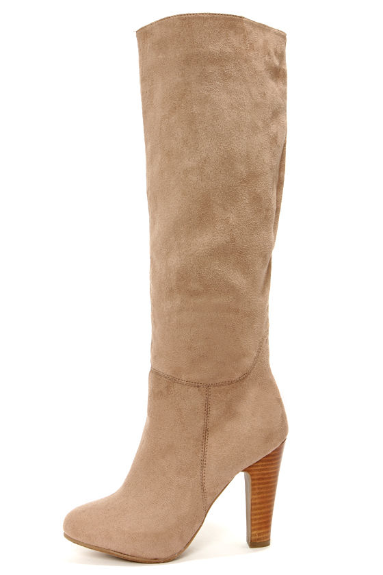 Cute Taupe Boots - Knee High Boots - High Heel Boots - $56.00