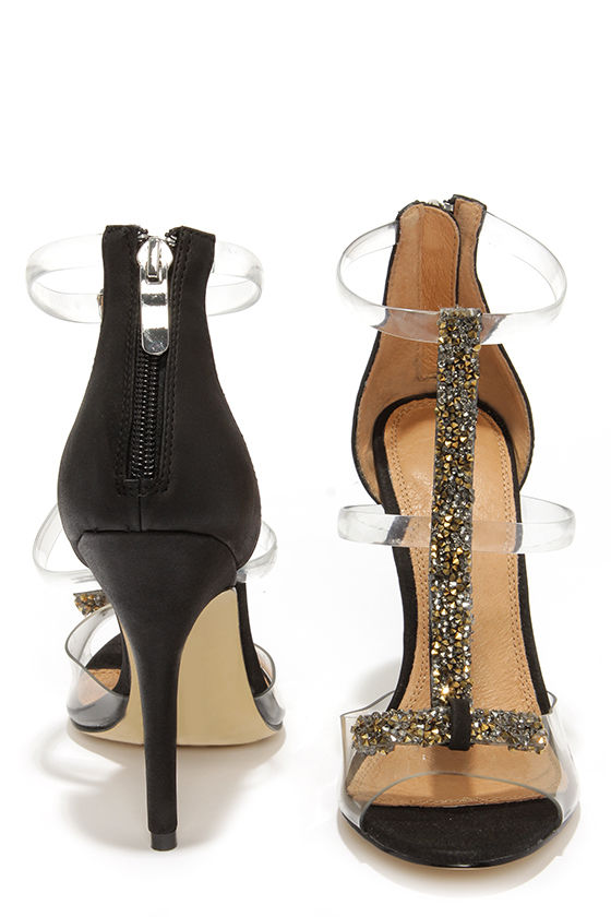 e1553a8276 Chinese Laundry Jive Talk Black and Lucite Jeweled High Heels