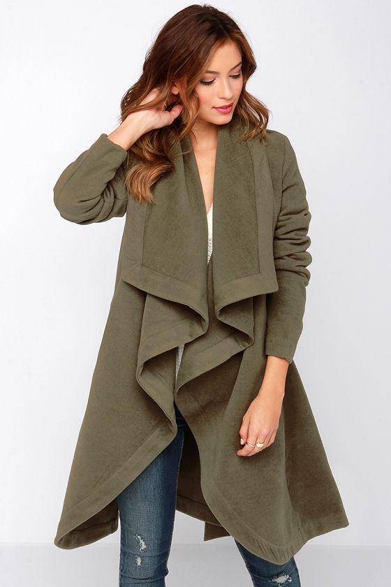Pretty Olive Green Coat - Wrap Coat - Army Green Coat - $70.00
