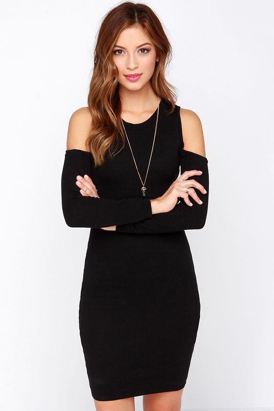 Black Dress Sweater Dress Cold Shoulder Dress 5200
