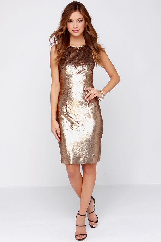 Bariano Riley Dress - Bronze Dress - Sequin Dress - Bodycon Dress ...