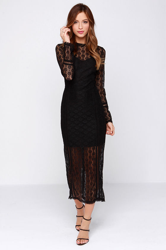 Sexy Black Dress - Lace Dress - Lace Midi Dress - $91.00