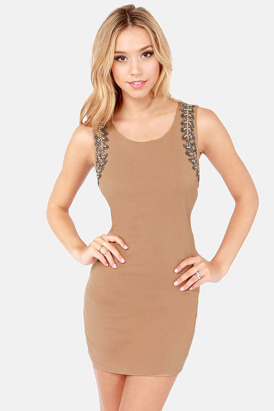 Shaken Not Stirred Beaded Brown Dress at Lulus.com!