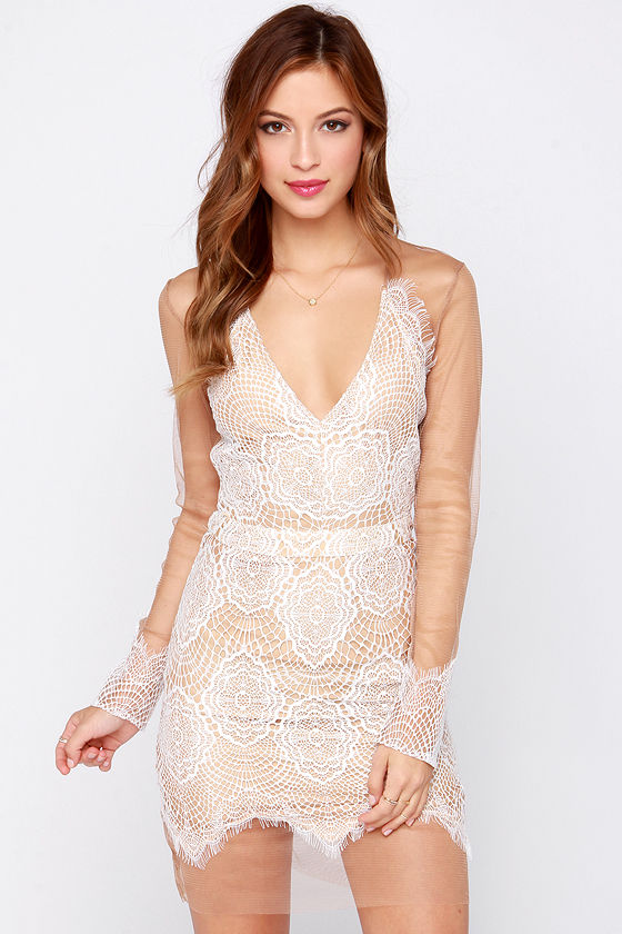 sexy ivory dress tan and ivory dress lace dress long