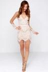 Sexy Ivory Dress Tan And Ivory Dress Lace Dress Long Sleeve