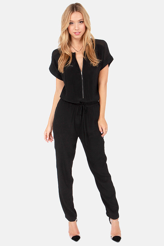 Cute Black Jumpsuit - Short Sleeve Jumpsuit - Cutout Jumpsuit - $60.00