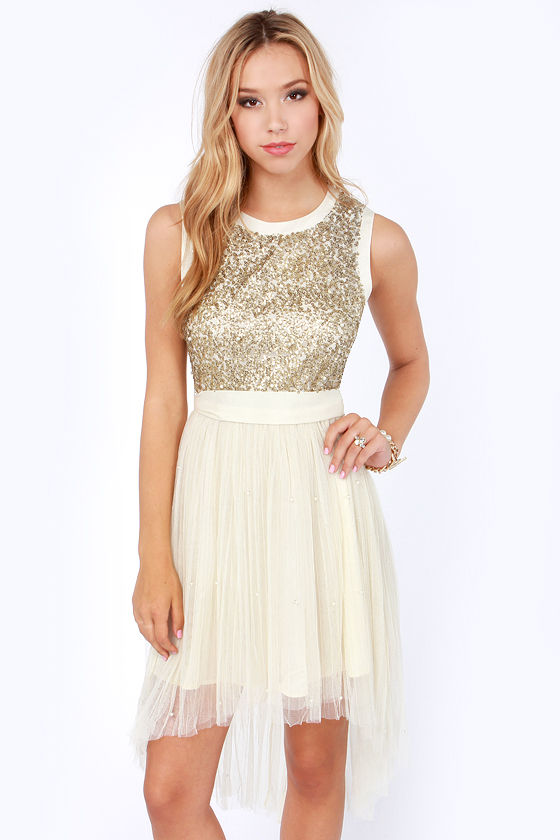 Beautiful Cream Dress - Sequin Dress - High-Low Dress - Party ...