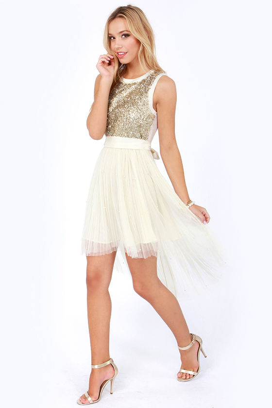 Darling Mandy Cream and Gold Sequin Dress at Lulus.com!