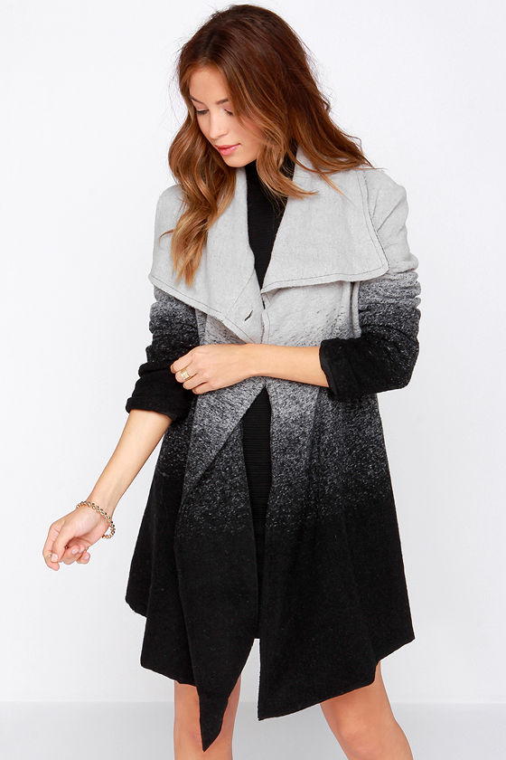BB Dakota Ashlyn Coat - Grey and Black Coat - Ombre Coat - Wool ...