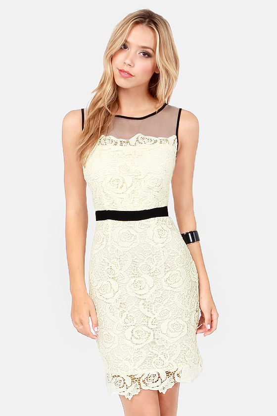 Darling Pearl Black and Ivory Lace Dress at Lulus.com!
