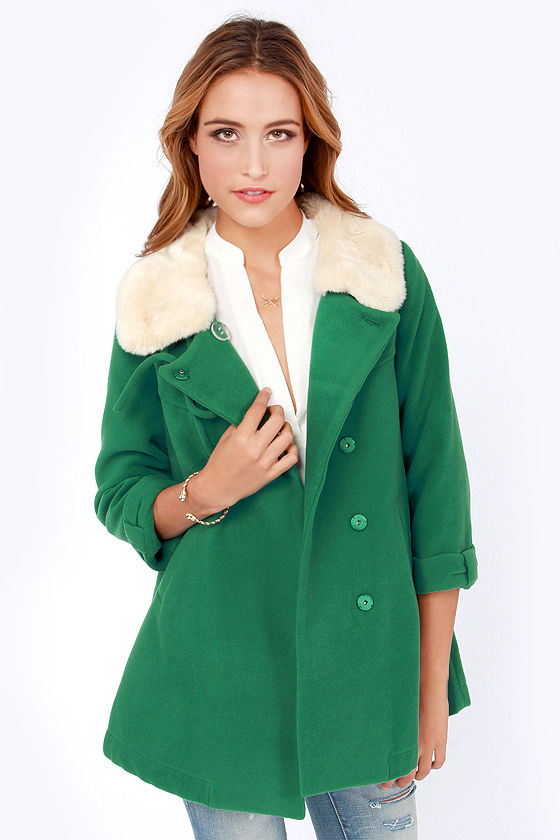 Darling Vanessa Coat - Jade Green Coat - Swing Coat - $125.00