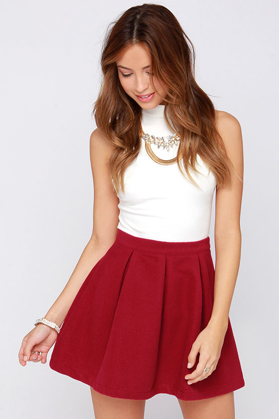 Cute Wine Red Skirt - Mini Skirt - Pleated Skirt - $45.00