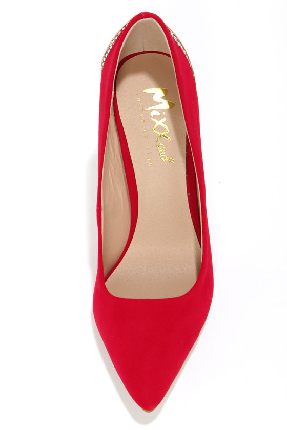 Mixx Shuz Eliza Red Kid Suede Gold Cage Pointed Pumps at Lulus.com!
