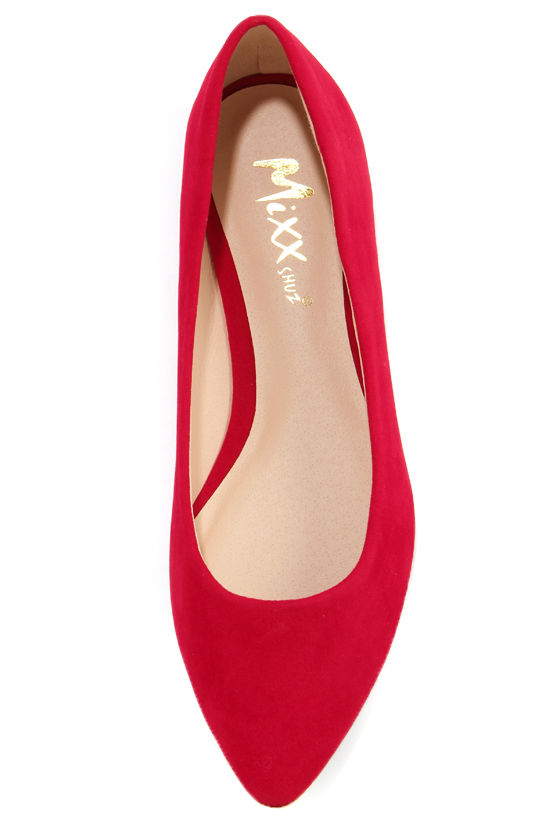 Mixx Shuz Ian Red Gold-Toed Pointed Flats at Lulus.com!