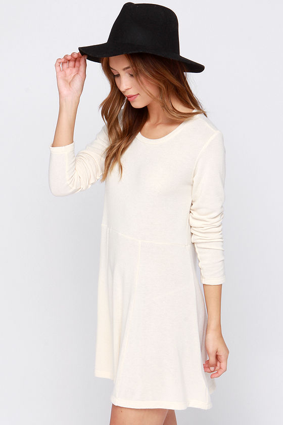 Obey Hartley - Cream Sweater Dress - Long Sleeve Dress - $48.00