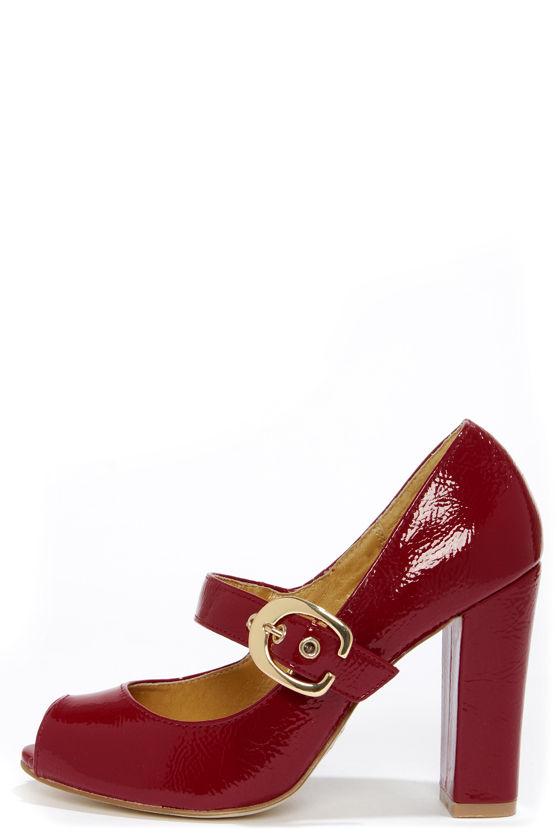 Cute Red Heels - Peep Toe Heels - Mary Jane Heels -  67.00