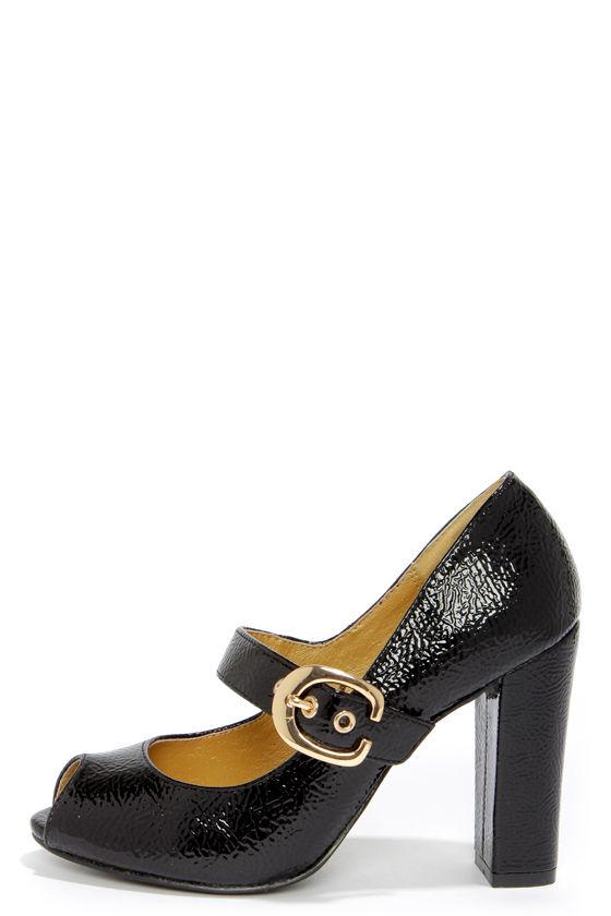Cute Black Heels - Peep Toe Heels - Mary Jane Heels -  67.00