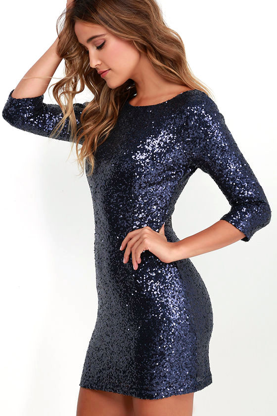 Navy Blue Sequin Dress - Cocktail Dress - Homecoming Dress