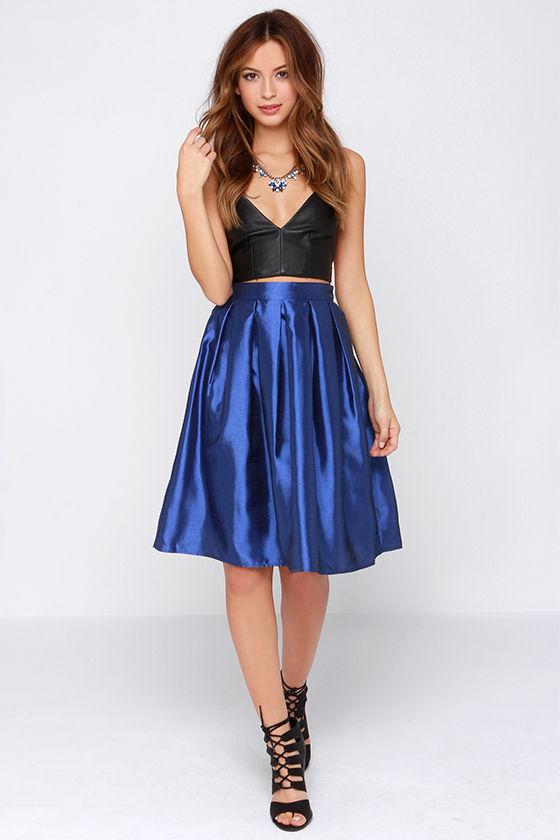 Royal Blue Skirt - Midi Skirt - Pleated Skirt - $34.00