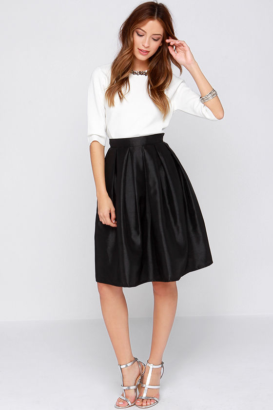 Chic Black Skirt - Midi Skirt - Skater Skirt - Pleated Skirt - $34.00