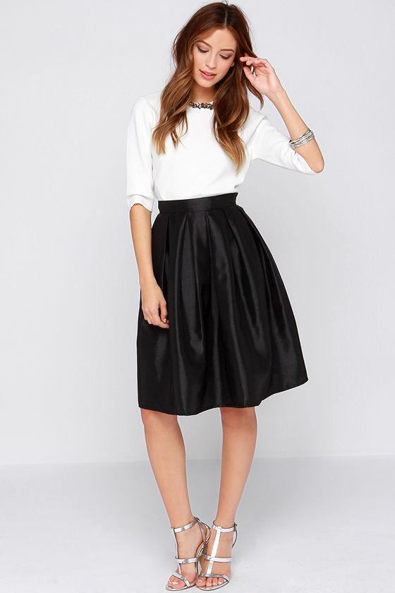 Chic Black Skirt - Midi Skirt - Skater Skirt - Pleated Skirt - $34.00