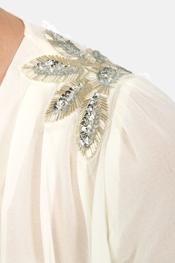 My Beading Heart Sheer Beaded Cream Top at Lulus.com!
