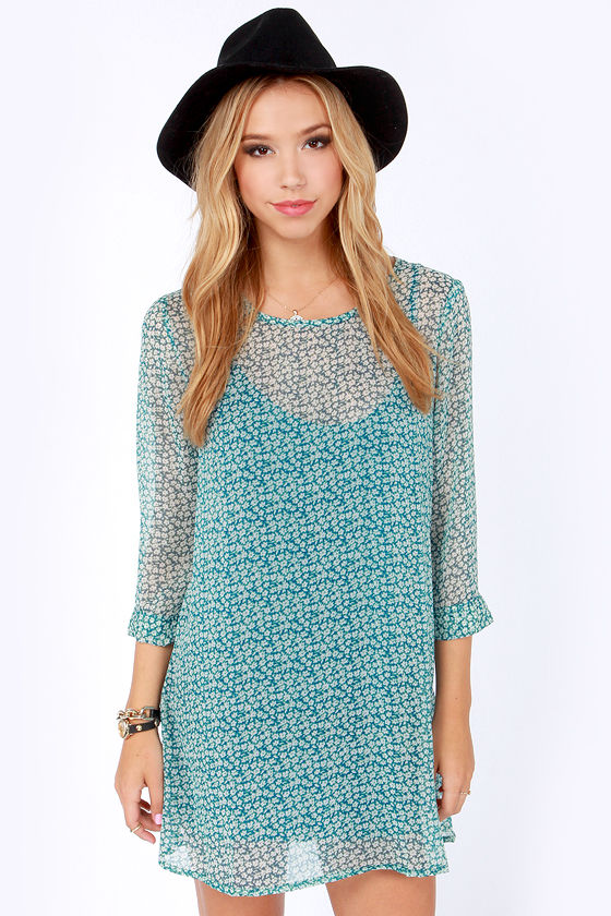 RVCA Last Child Blue Floral Print Dress at Lulus.com!