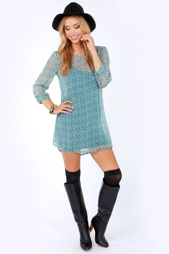 RVCA Last Child Blue Floral Print Dress at Lulus.com!