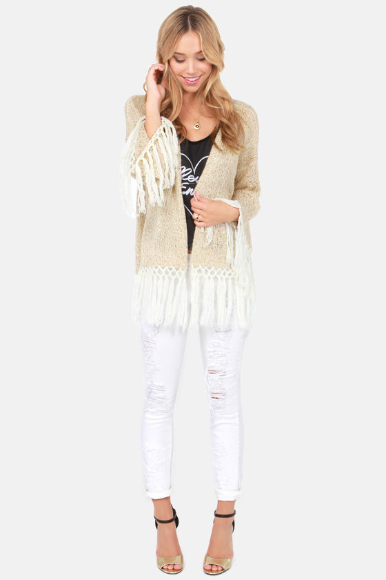 RVCA Jinxleton Gold Sequin Fringe Sweater at Lulus.com!