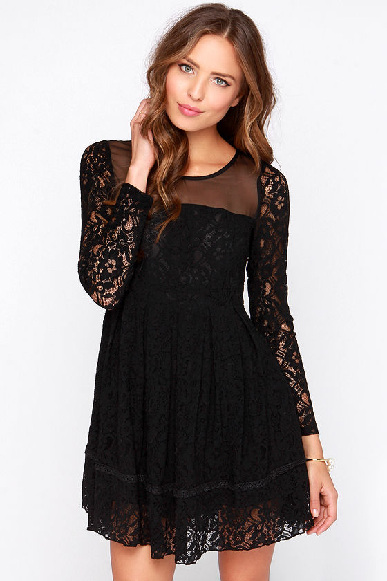 Gurdon Black Dress Long Sleeve Dress Lace Dress 8800