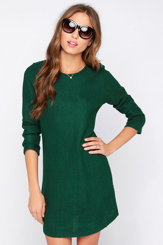 Cute Green Dress - Sweater Dress - Black and Green Dress - $77.00