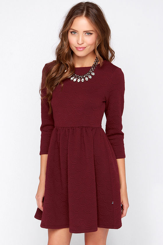 Diller dress burgundy dress long sleeve dress for Casual winter wedding dresses with sleeves