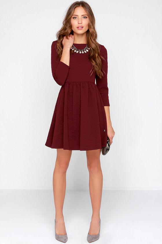5d5dc8aec6d1 Diller Dress - Burgundy Dress - Long Sleeve Dress -  79.00