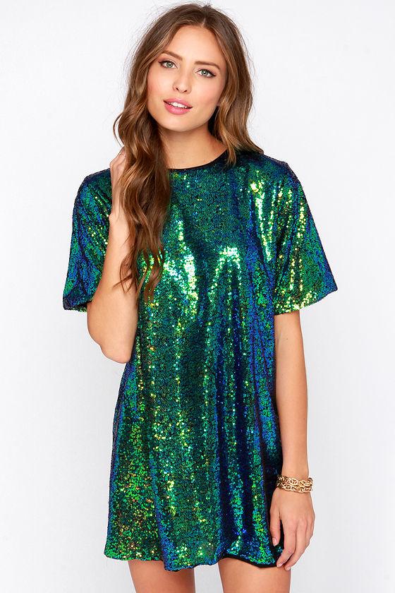 Pretty Green Dress - Sequin Dress - Iridescent Sequin Dress ...
