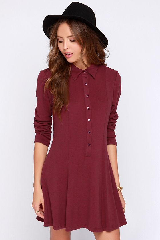 Burgundy Dress Long Sleeve Dress Shirt Dress 70 00