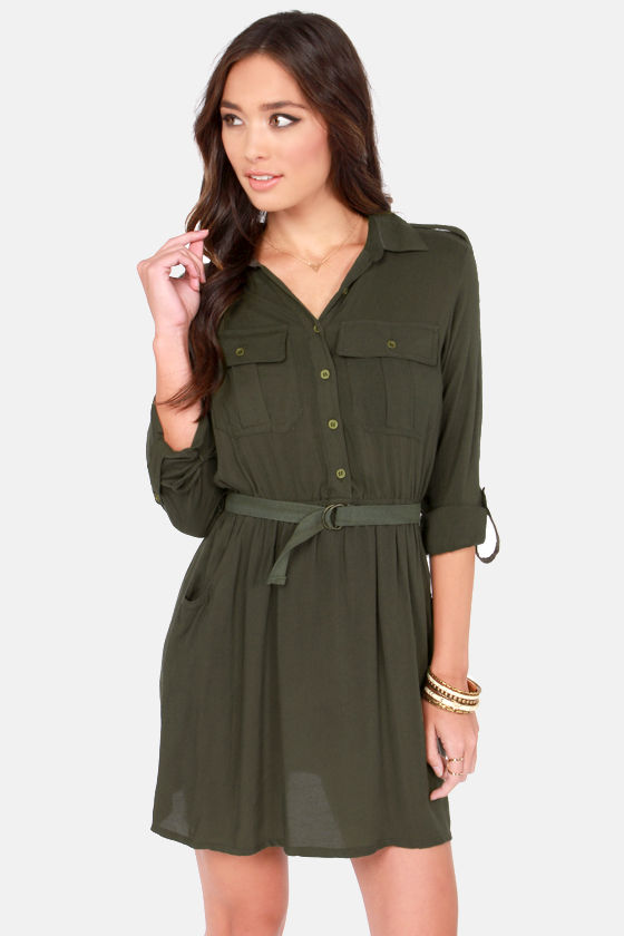 072702cc00b7 Cute Green Dress - Army Green Dress - Shirt Dress -  49.00