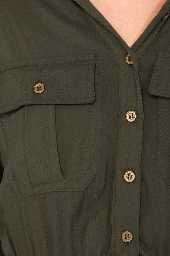 Beauty Brigade Army Green Shirt Dress at Lulus.com!
