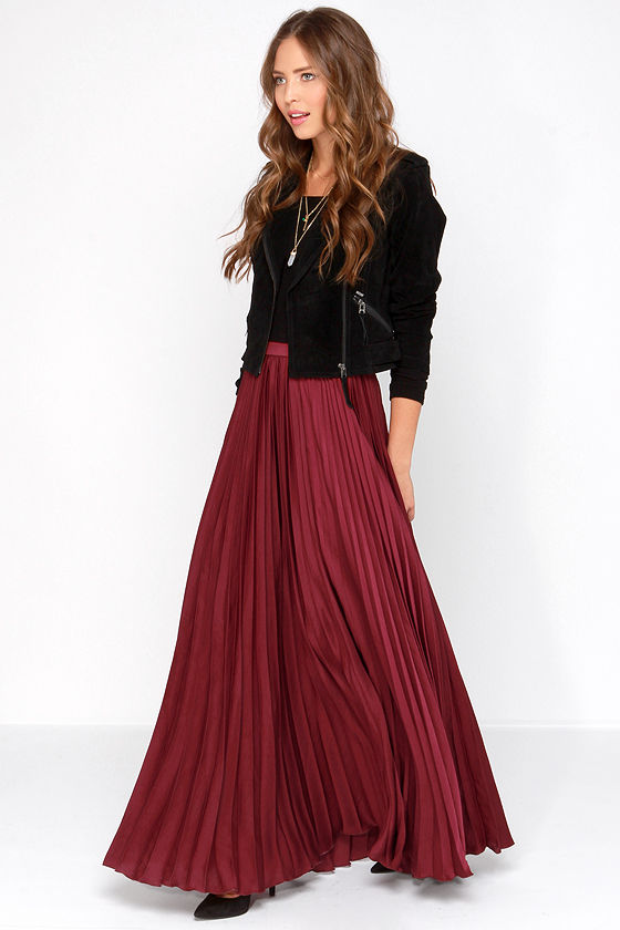 Pretty Burgundy Skirt - Maxi Skirt - Accordion Pleated Skirt - $139.00