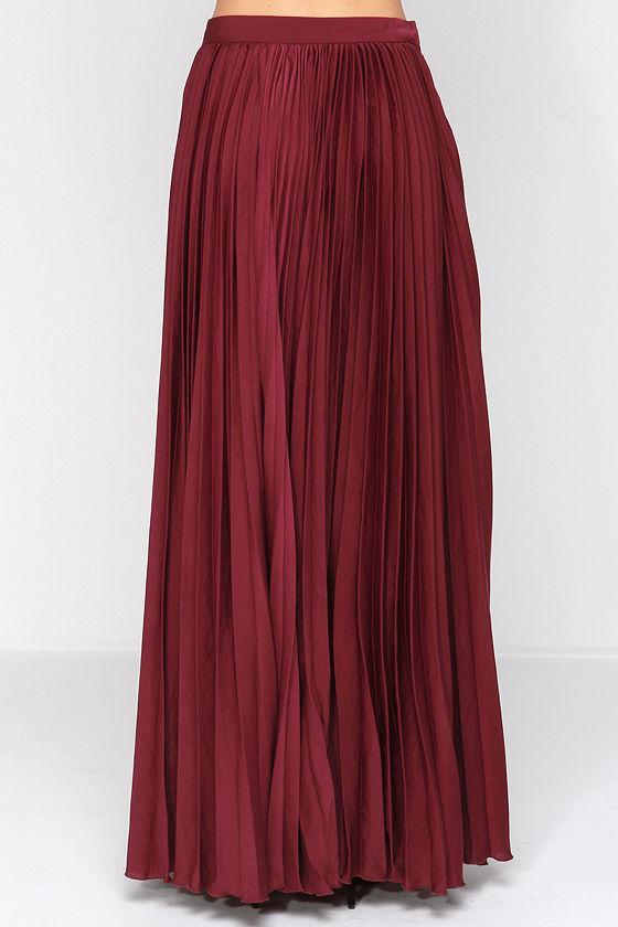 Pretty Burgundy Skirt - Maxi Skirt - Accordion Pleated Skirt - $139.00