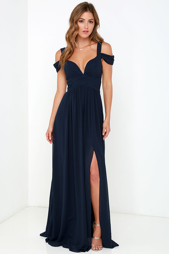 Bariano Ocean of Elegance Navy Blue Maxi Dress 1