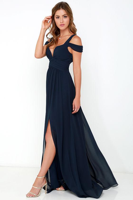 Elegant Navy Blue Dress Maxi Dress Cocktail Dress
