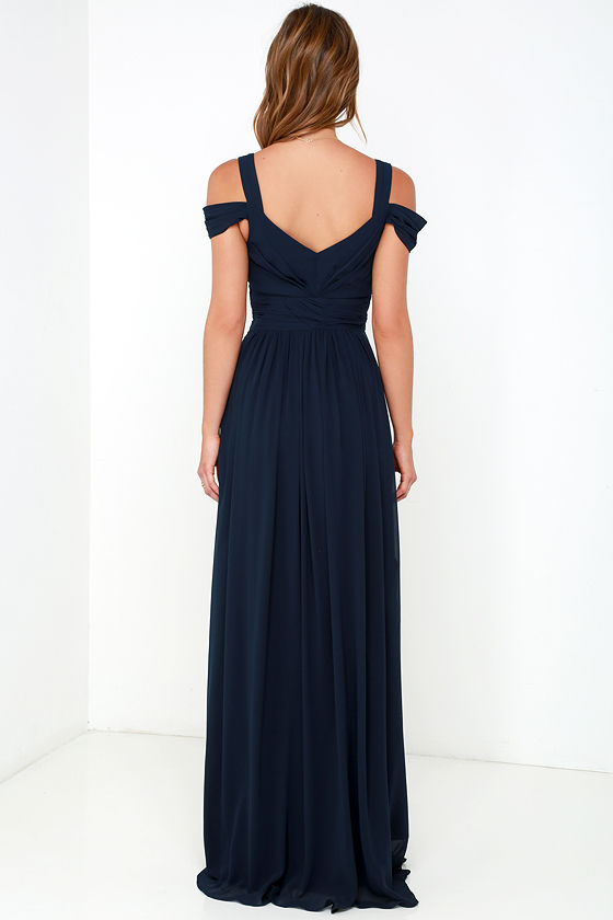 Bariano Ocean of Elegance Navy Blue Maxi Dress 6