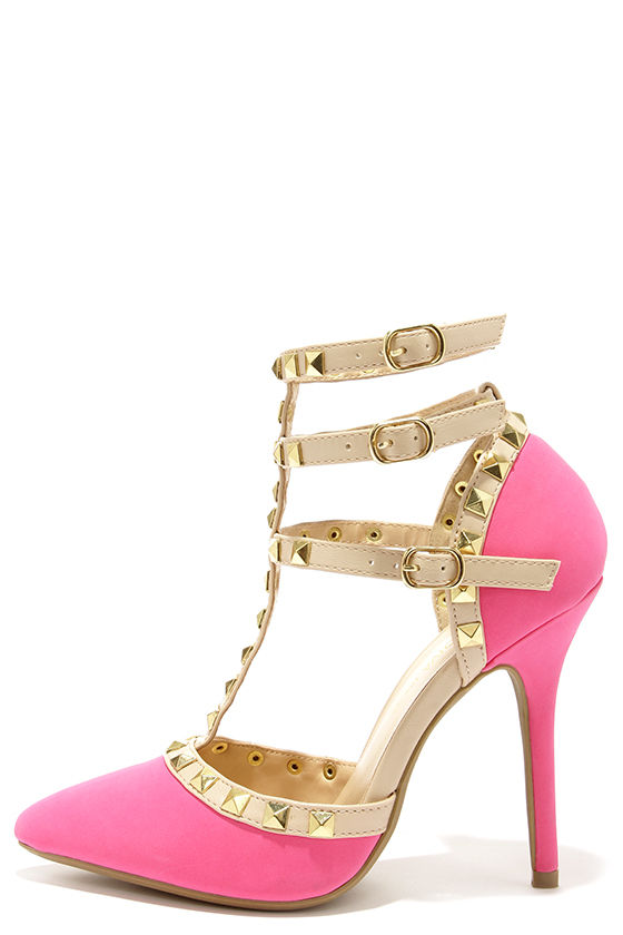 Cute Neon Pink Shoes T Strap Heels Studded Shoes