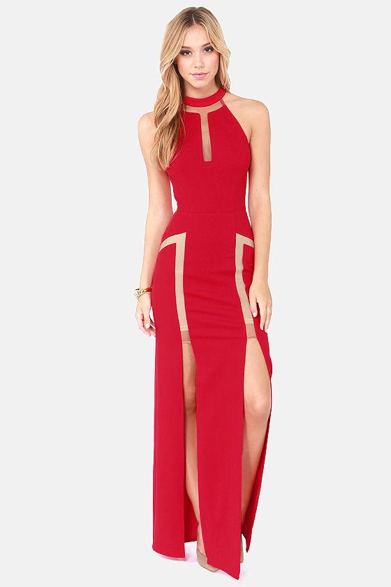 Sexy Red Dress - Cutout Dress - Maxi Dress - Halter Dress - $132.00