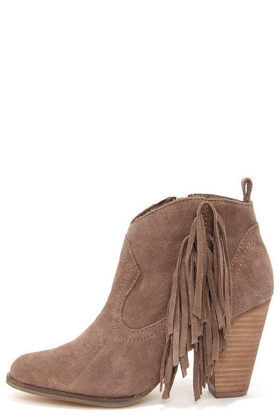 Cute Taupe Boots - Suede Boots - Fringe Boots - Ankle Boots ...