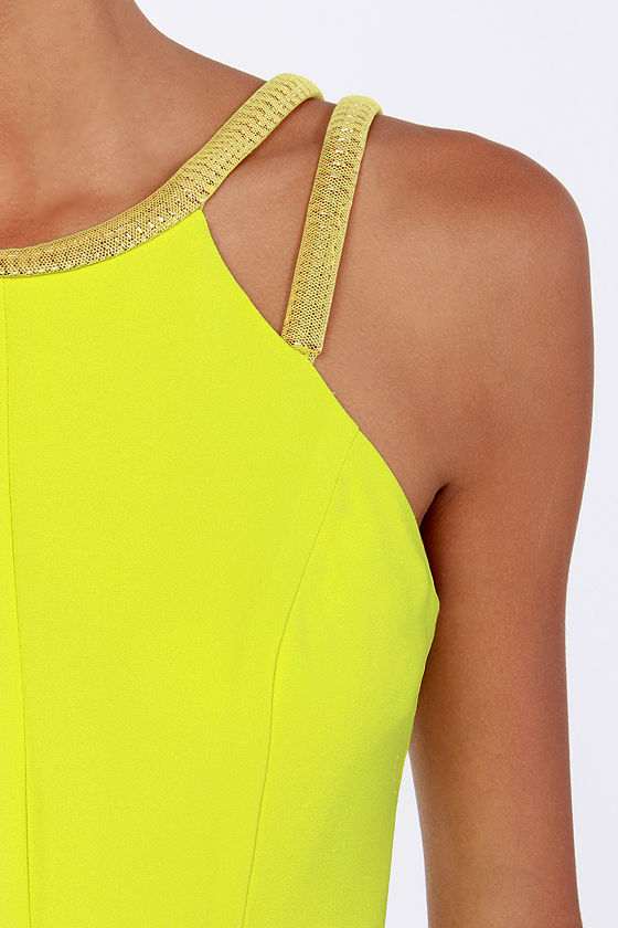 Lumier Bright on the Town Chartreuse Yellow Dress at Lulus.com!