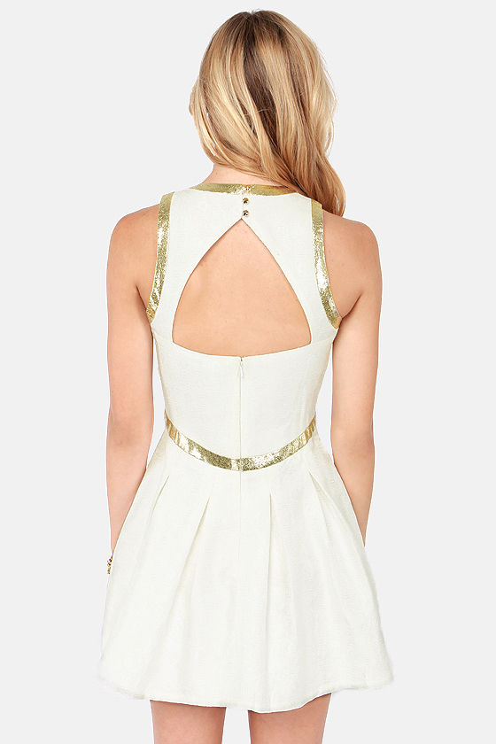 Lumier Splendid on a High Note Ivory Jacquard Dress at Lulus.com!