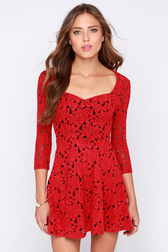 Mink Pink Little Red - Jacquard Dress - Red Dress - Rose Dress ...