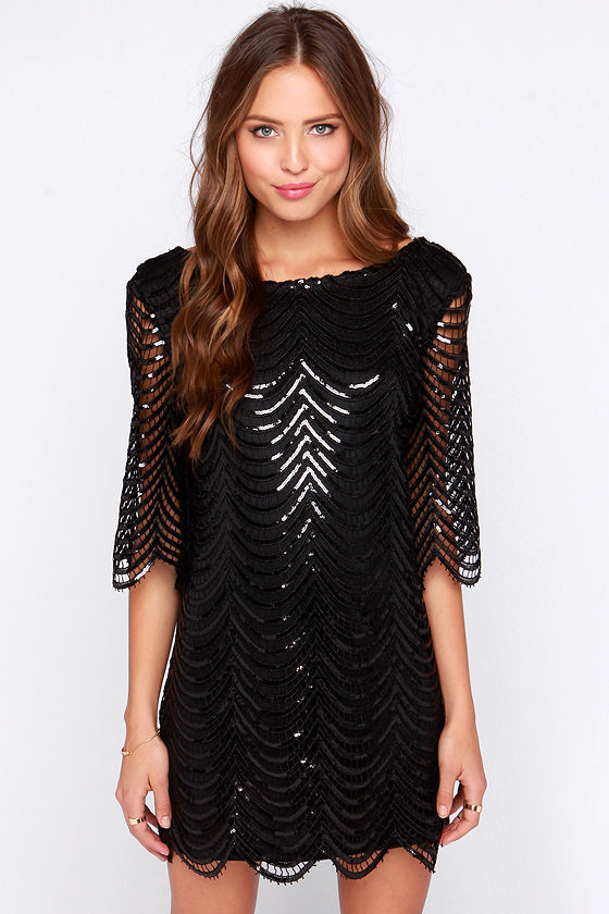 Pretty Black Dress - Sequin Dress - Shift Dress - $79.00